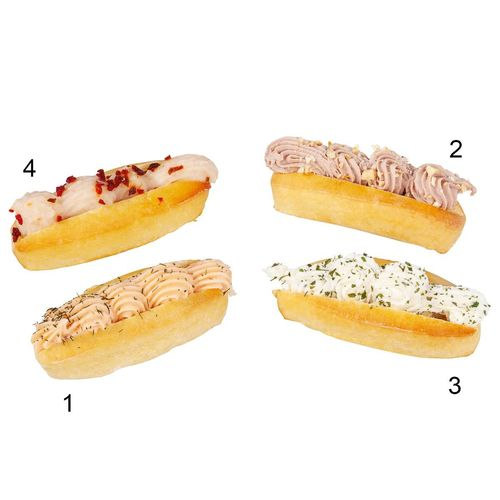 Navettes cocktail farcies, 4 sortes