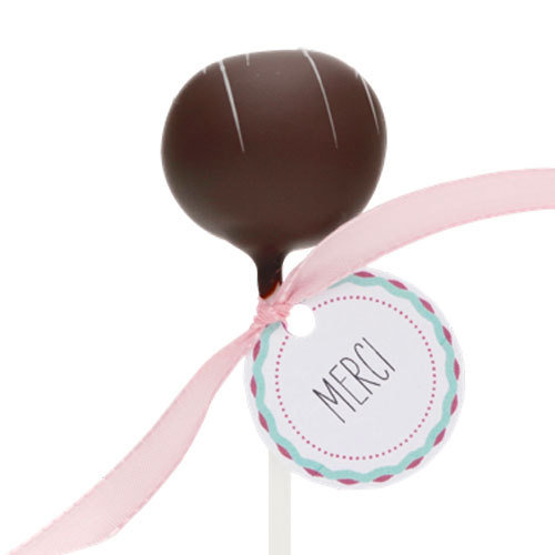 "Cake Pop ""Brownie"" avec ""Merci"""